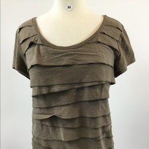 Ann Taylor Loft Brown Ruffle Shirt Size XL (B-88)